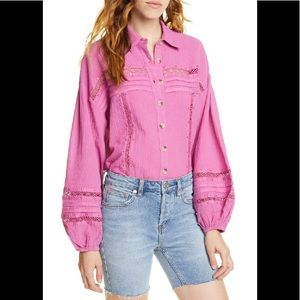 🌷 FREE PEOPLE Summer Stars Button Down Shirt